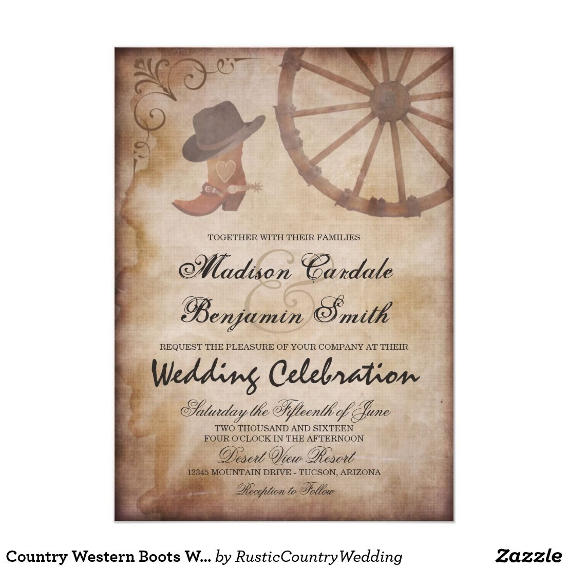 Country Western Boots Wagon Wheel Wedding Invite Country Wedding