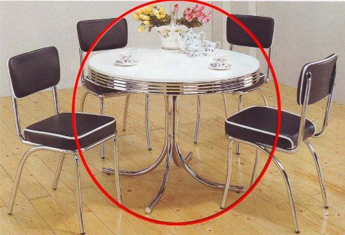 Coaster Retro Round Dining Kitchen Table in Chrome Whit s