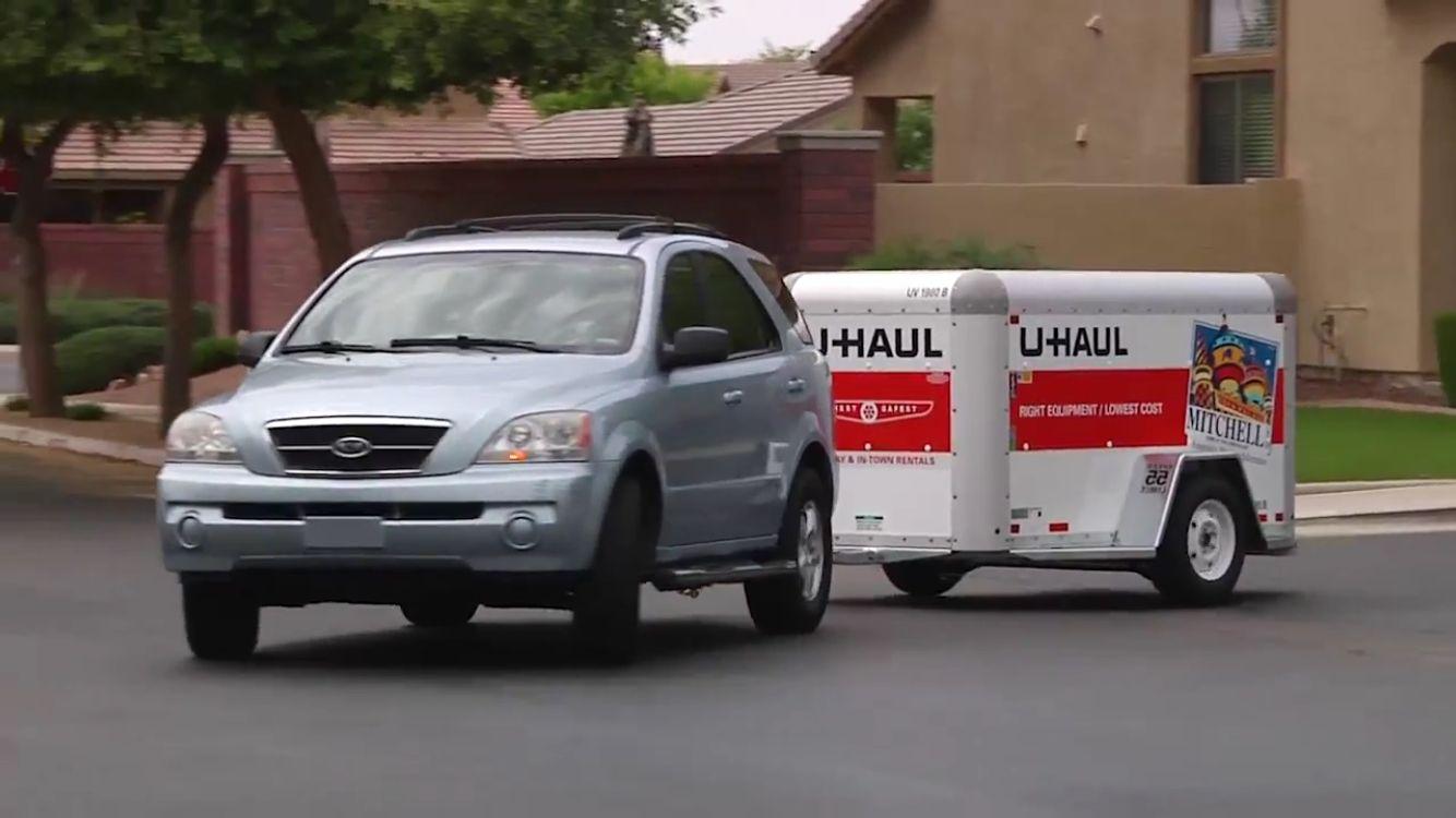 Car Towing A 4x8 U Haul Cargo Trailer Cargo Trailers Cargo Towing