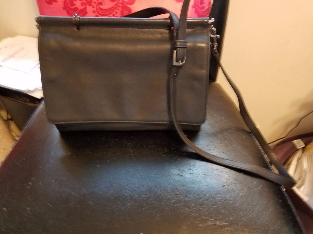 7da79316fd COACH Black Leather WILLIS Dowel Top Handle Flap Satchel Crossbody Handbag   9185  Coach
