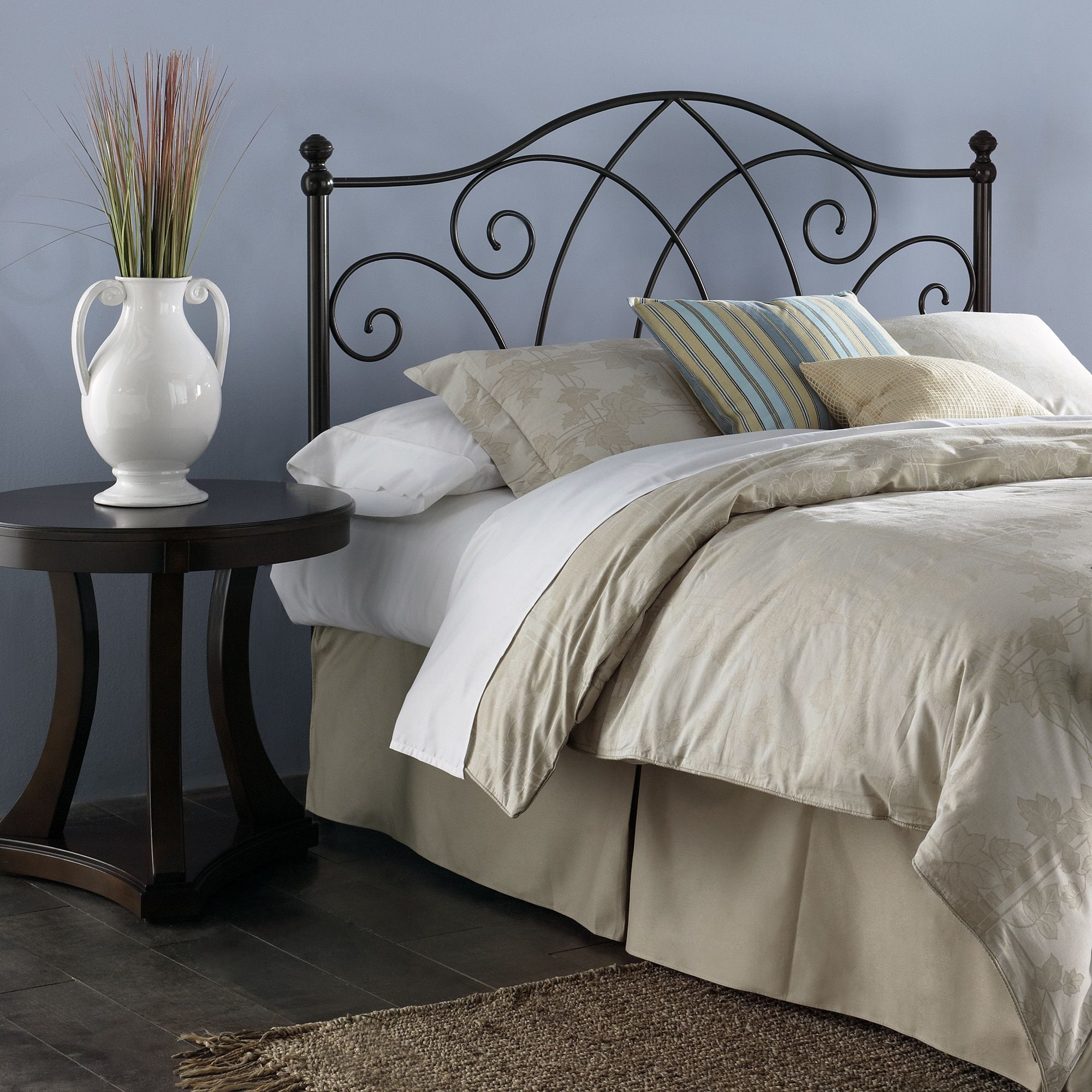 Fashion Bed Group Deland Metal Headboard with Curved Grill Design