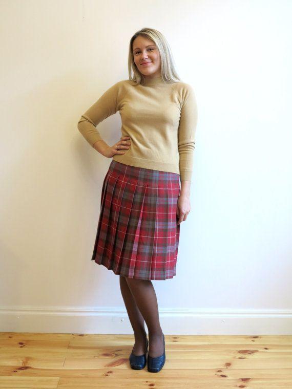 b45ca226e Tartan Plaid Accordion Pleated Knee Wool Skirt Checkered Red Grey ...