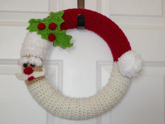 Crochet Santa Wreath Crochet Christmas Wreath By Alexsgiftshop