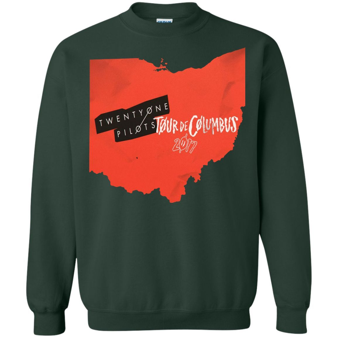 tour de columbus twenty one pilots Printed Crewneck Pullover Sweatshirt 8 oz