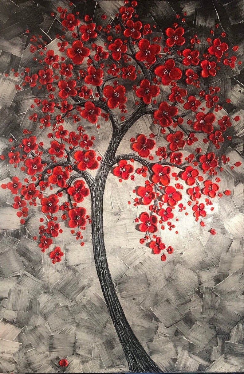 One Of A Kind Red Cherry Blossom Tree Painting For The Office Etsy In 2021 Red Cherry Blossom Cherry Blossom Painting Tree Painting