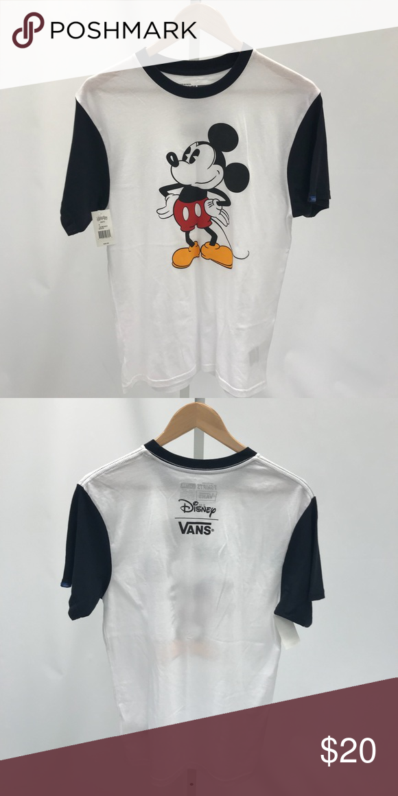 caa5f0ac1ad Vans Mickey Mouse T-Shirt White T-shirt with black arm sleeves and black  neck collar. Vans Shirts Tees - Short Sleeve