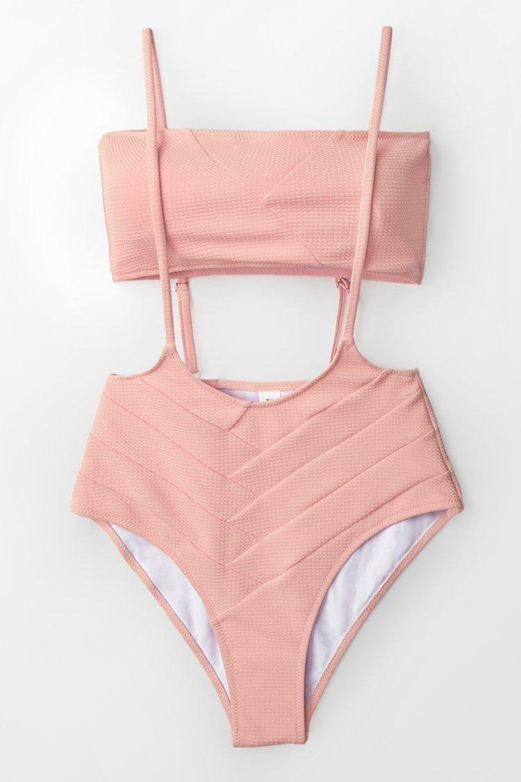 6456c02658 #EnvyWe #CupShe - #CUPSHE Peach Bandeau With High-waist Suspender Bikini -  EnvyWe.com