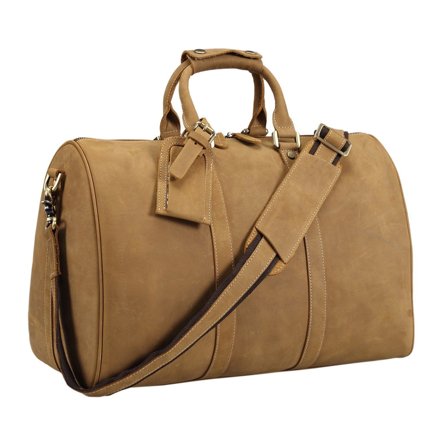 Polare Men s 18   Retro Real Leather Weekender Duffel Overnight Bag Carry  On Luggage     To view further for this item a1602593faa15