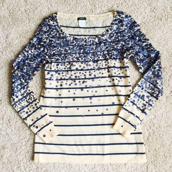 Details about  /J Crew Merino Confetti Stripe Sweater Small