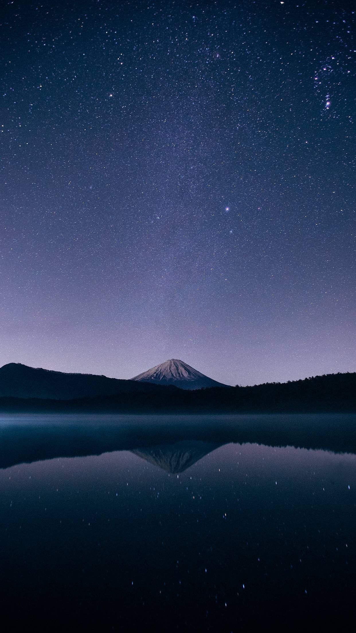 Vertical Stars Dark Sky Reflection 1080p Wallpaper Hdwallpaper Desktop Scenery Sky Lake Background