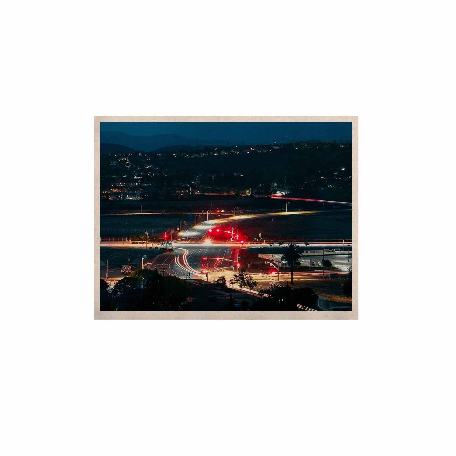 """Just L """"Chasing Lights"""" Blue Red KESS Naturals Canvas (Frame not Included)"""
