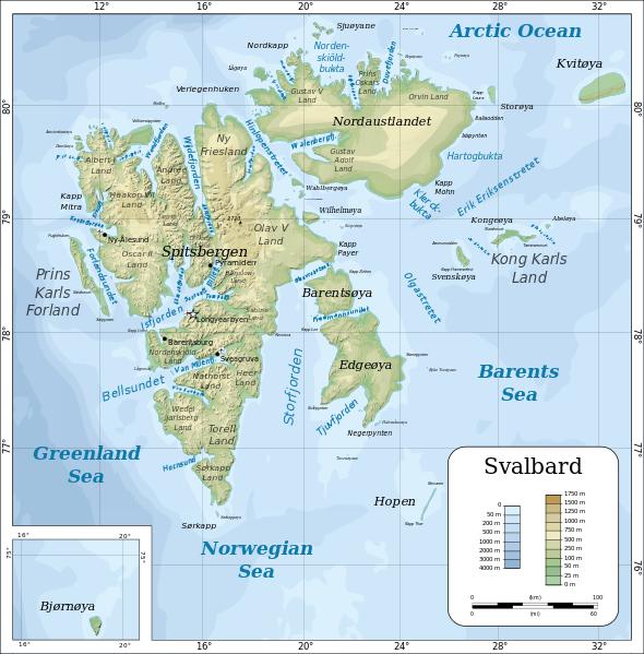 Topographic map of Svalbard Svalbard Norway Pinterest