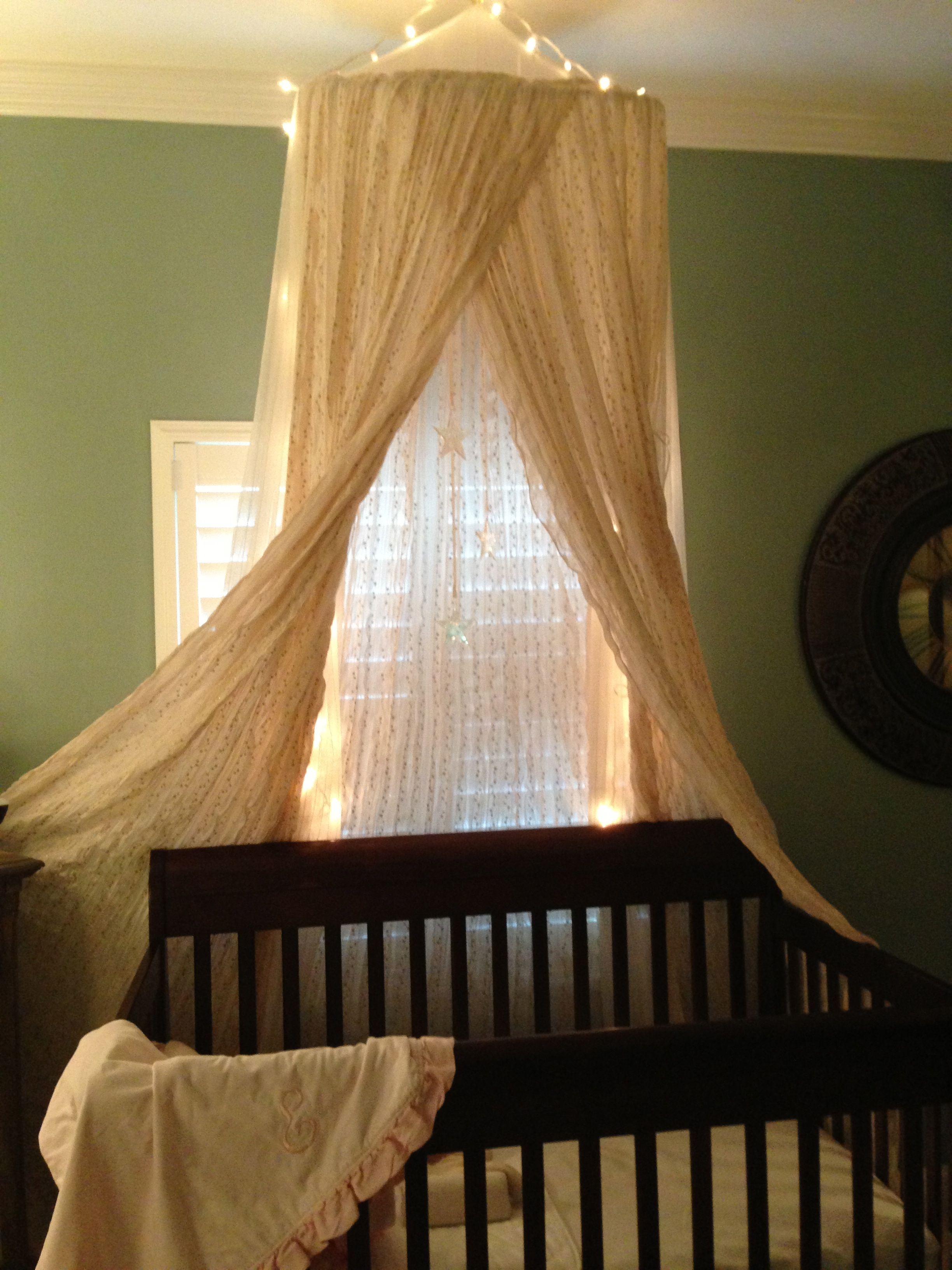 The crib canopy incredible lace over existing mosquito for Canopy above crib