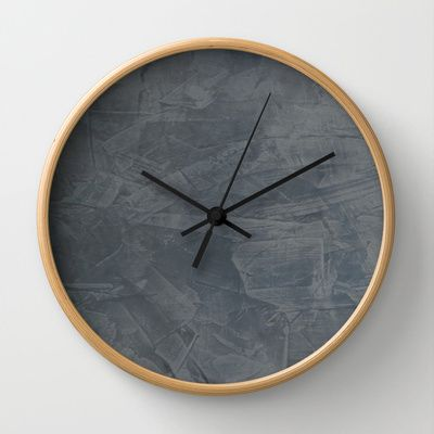 """Slate Gray Stucco Wall Clock from @society6 . This one sold with black hand color and natural wood frame! Available in natural wood, black or white frames, our 10"""" diameter unique Wall Clocks feature a high-impact plexiglass crystal face and a backside hook for easy hanging. Choose black or white hands to match your wall clock frame and art design choice. #forthehome"""