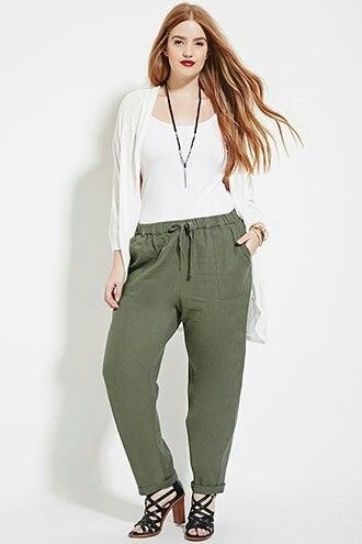 Army green pants and white on white + accent necklace