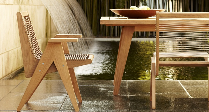 Modern Outdoor Furniture From Rose Tarlow Melrose House  Laced Premium Teak  Catu0027s Cradle Dining Chairs