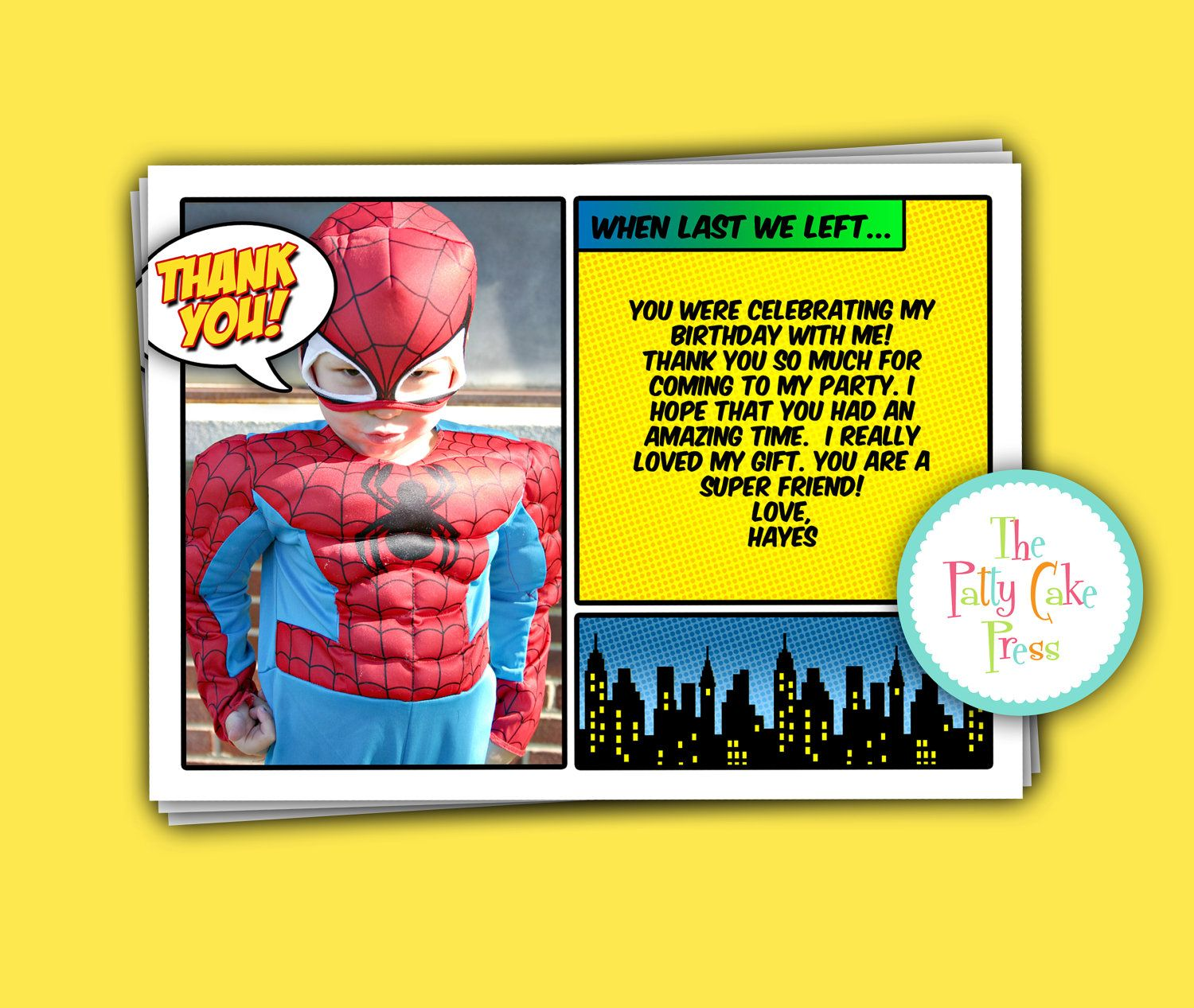 Super Hero Thank You Cards Custom Printable Digital File Birthday