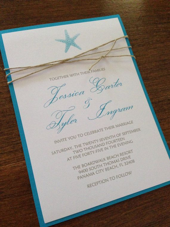 Beach Wedding Invitation with Twine Starfish and an Ocean Blue