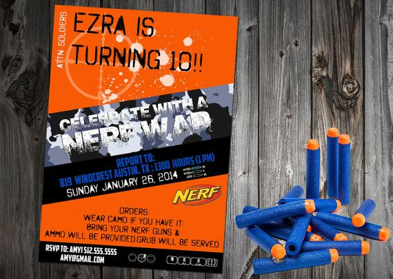 customized nerf party invitation by craftboxstudio on etsy - Customized Party Invitations