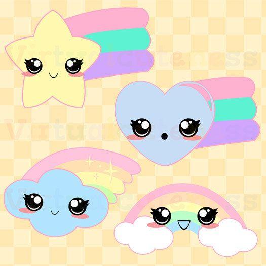 Kawaii Rainbows Clipart Cute Pastel Rainbows Kawaii Planner Printable Stickers Magical Girl Chibi Free Commercial And Per Cara Menggambar Kartun Lukisan