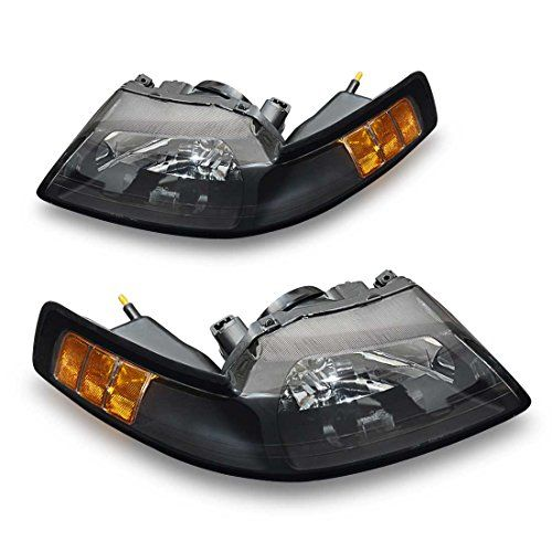 Headlamp For 99 04 Ford Mustang Replacement Headlight Assembly Kit Hight Clarity Hight Brightness Chrome Black Housing Clear Lens Driving Light 2 Year War Replacement Headlights Headlight Assembly Black Mustang