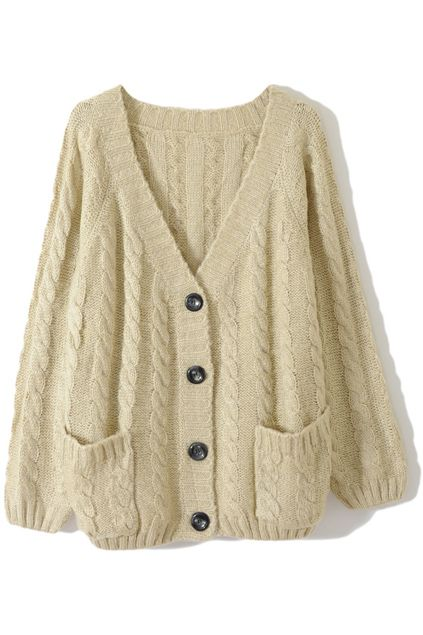 Chunky Cable Knit Cream Cardigan- Simply a must have winter piece ...