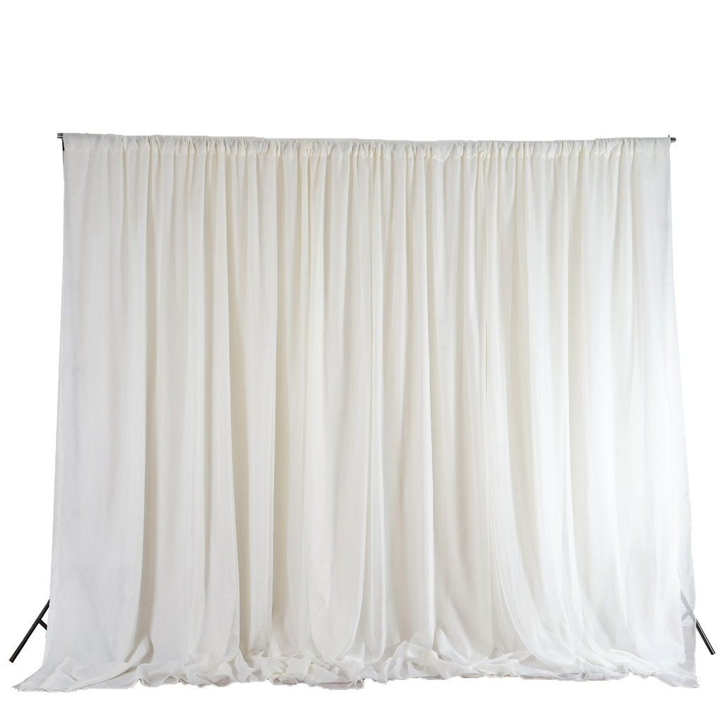 20ftx10ft Ivory Double Layer Polyester Chiffon Backdrop With Rod Pockets Ceiling Draping Fabric Backdrop Event Backdrop