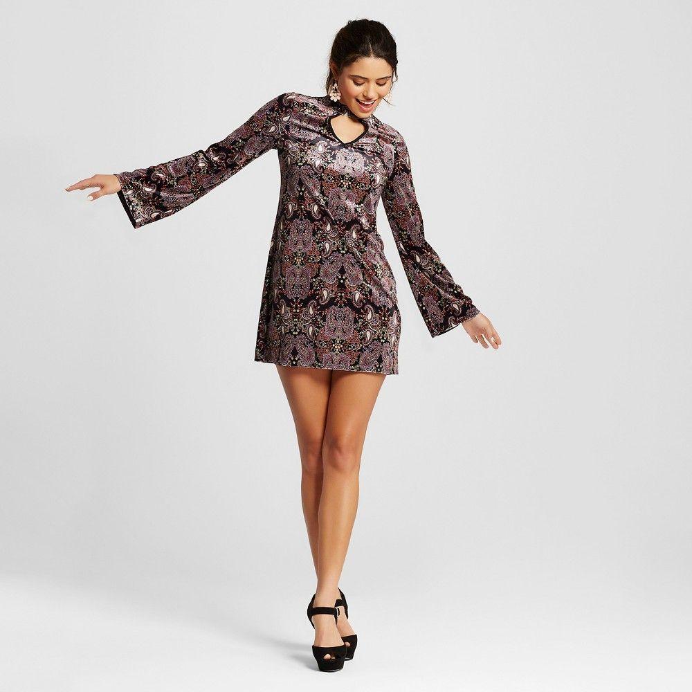 Womenus printed velvet long sleeve shift dress black xs
