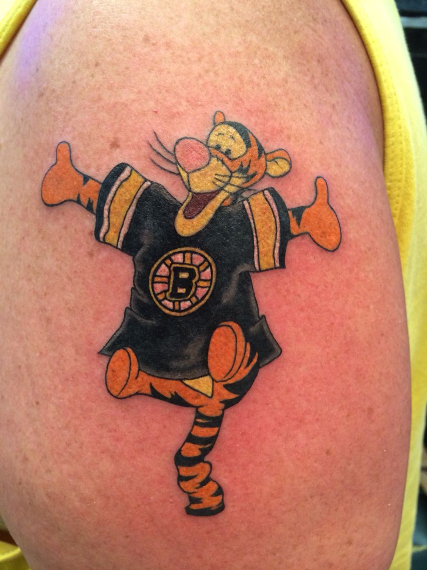 my tigger tattoo wearing Boston Bruins Jersey Tattoos