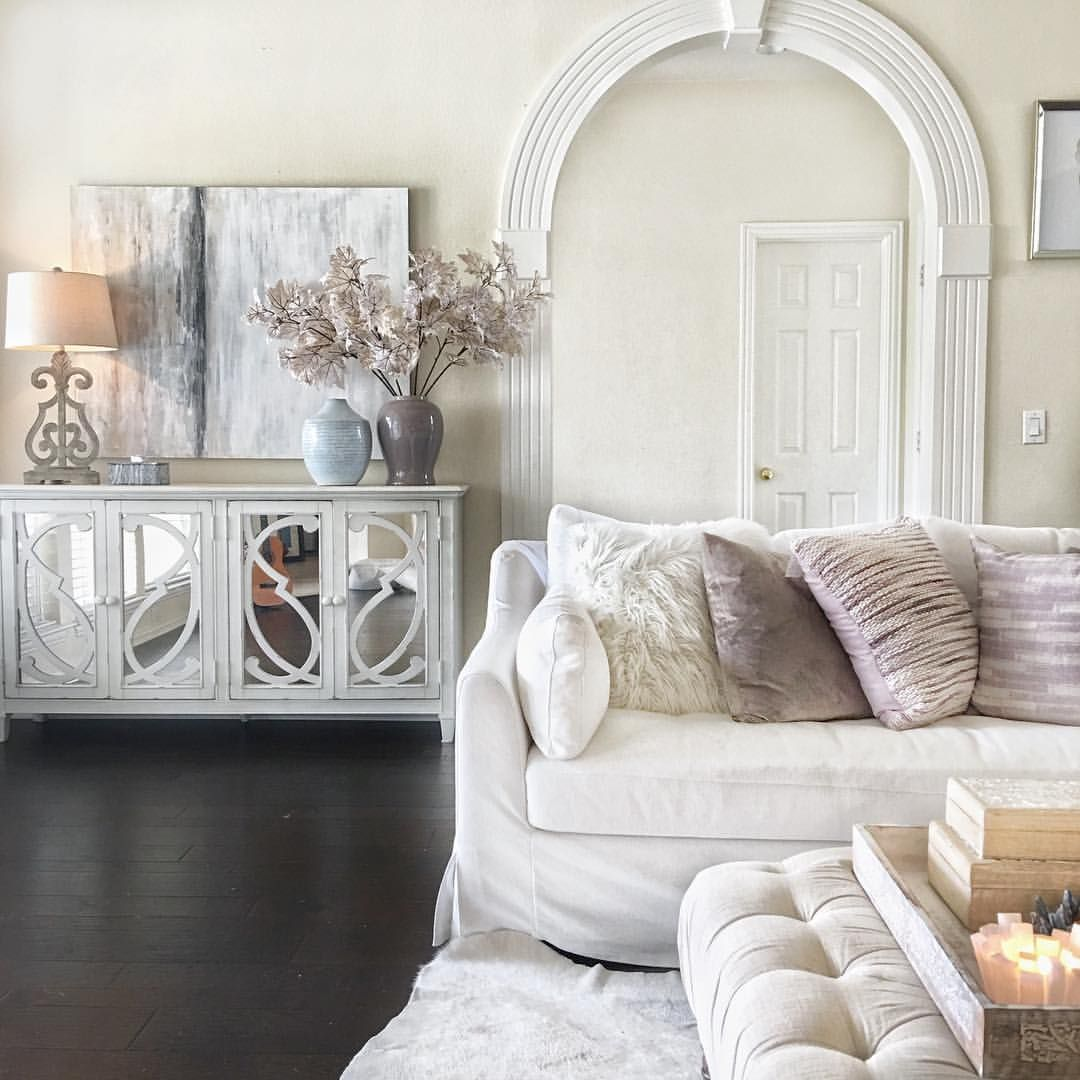 My neutral living room. Blush pink. White living room ...