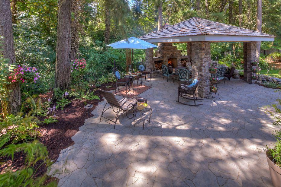 Fireplace landscape design lake oswego oregon exterior design paradise restored