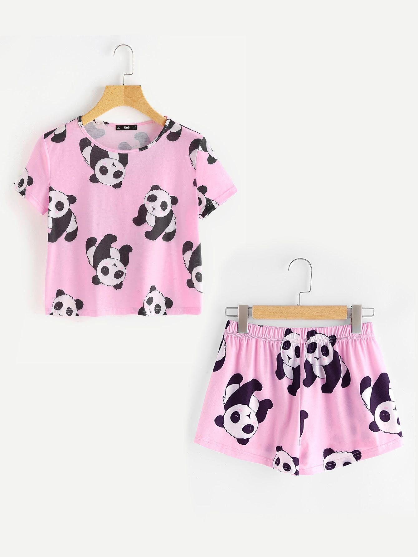 Shop Panda Print Tee And Shorts Pajama Set online. SheIn offers Panda Print  Tee And Shorts Pajama Set   more to fit your fashionable needs. e0127dd55