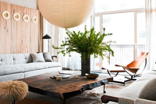 Oversized Light wooden coffee table and low furniture
