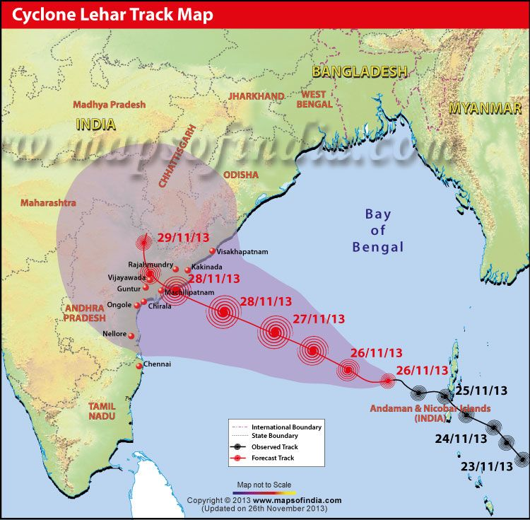 Cyclone Lehar Track Map