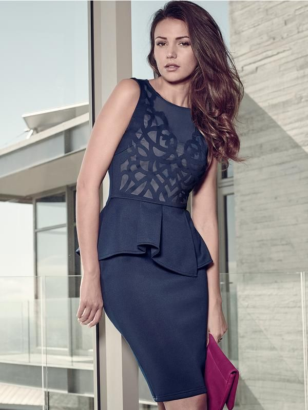 Lipsy Michelle Keegan Peplum Cutwork Dress | littlewoods.com