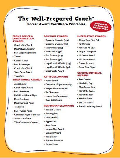 Soccer Award Categories Soccer moms, Team player and Soccer coaching - best of printable soccer certificate