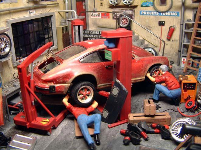 auto garage diorama 1 18 kaufen verkauf auto garage. Black Bedroom Furniture Sets. Home Design Ideas