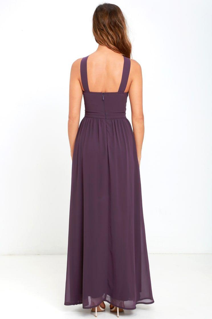 a396021d44a Beautiful Dusty Purple Dress - Maxi Dress - Halter Dress
