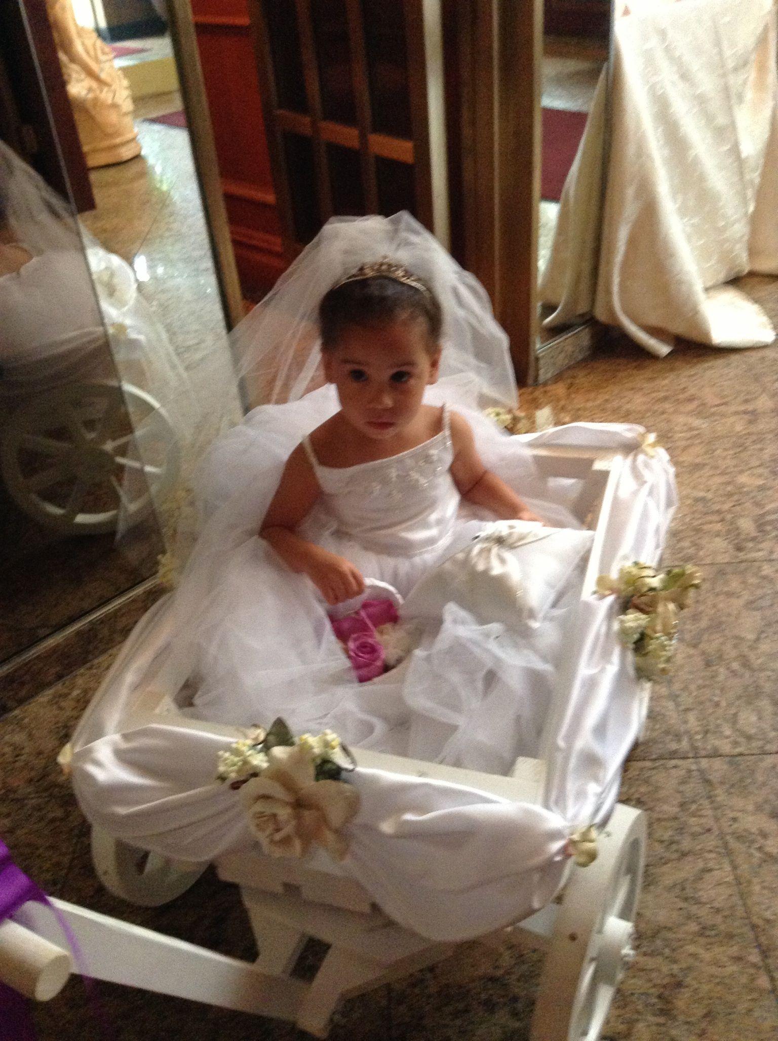 White Flower Girl Pumpkin Wagon- Medium size, Child's ... |Flower Girl Wagon Wedding Party