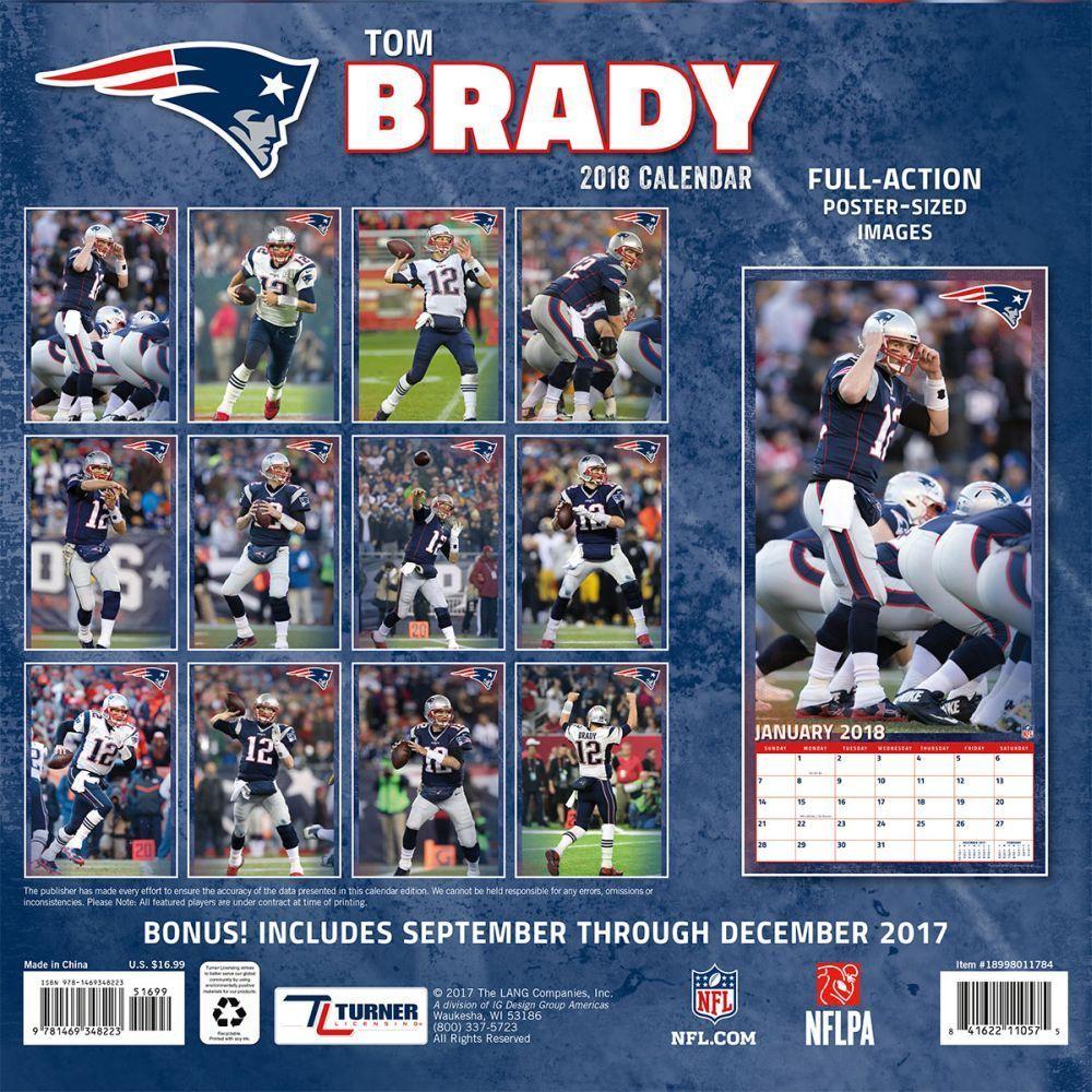 New England Patriots Tom Brady 2018 Wall Calendar | England