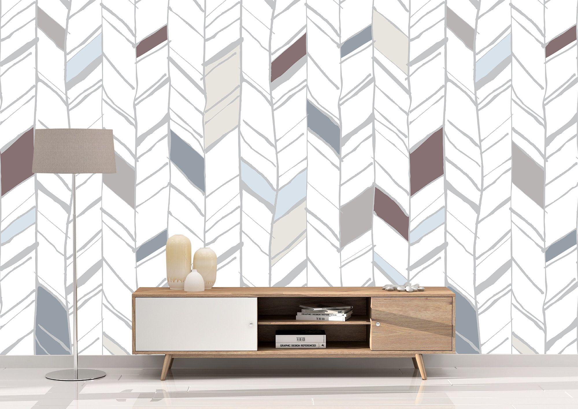 Herringbone Line Navy Peel And Stick Wallpaper Striped Walls Bedroom Wallpaper Walls Bedroom Peel And Stick Wallpaper