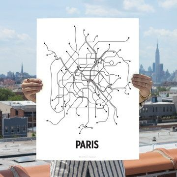 Paris Metro Map Art Current