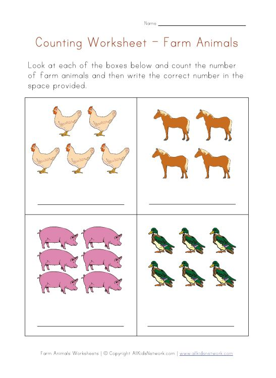 farm animals math worksheet PreK Number worksheets – Animal Math Worksheets