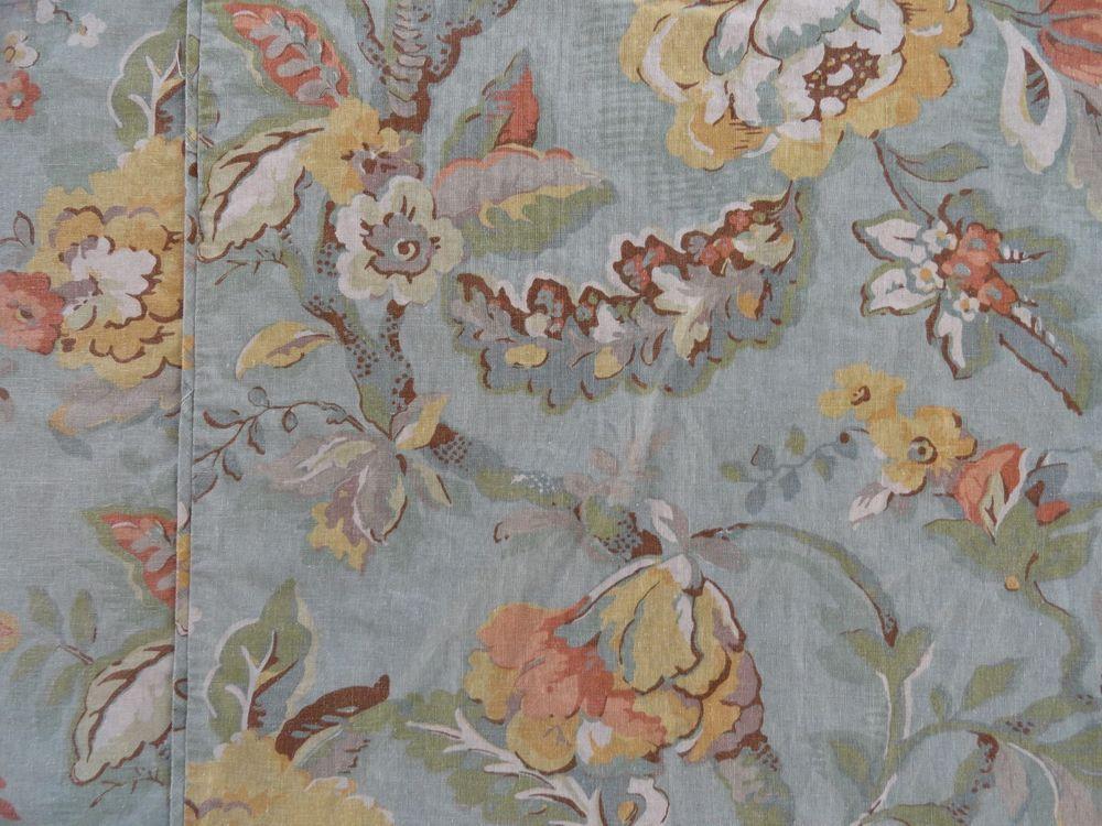 Pottery Barn Vanessa Dusty Teal Blue Floral King Duvet