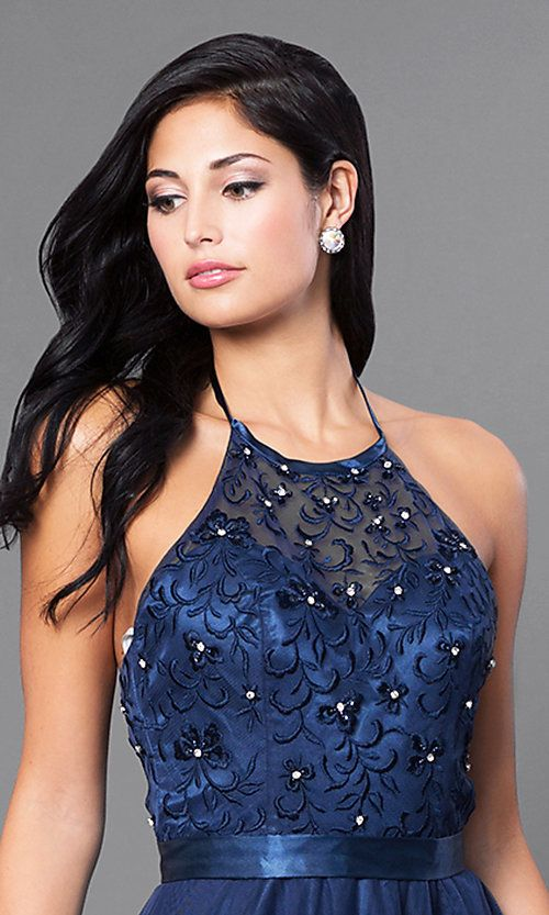 04d3eadda04 Image of embroidered Elizabeth K long formal halter dress. Style  FB-GL1475  Detail Image 1