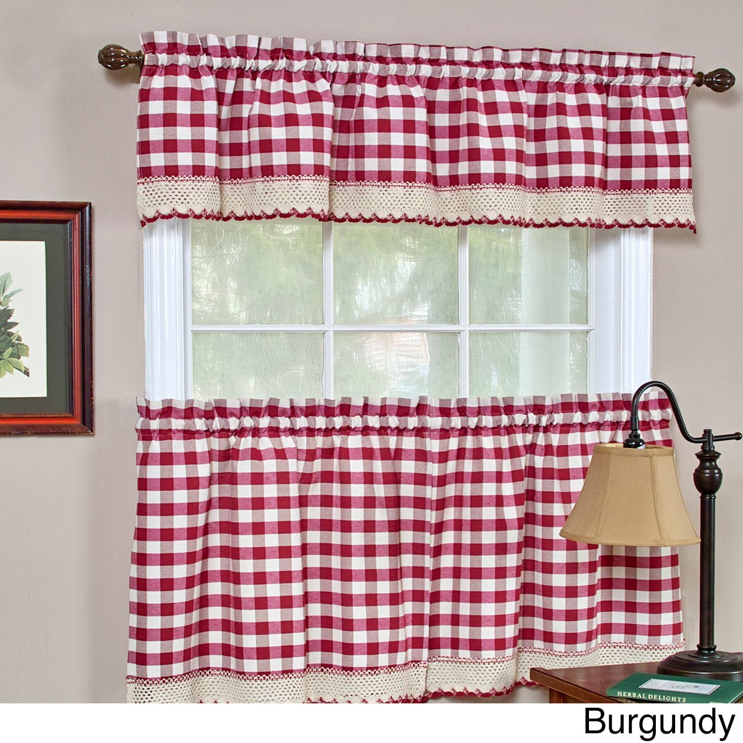 superb Pink Gingham Valance Part - 9: Achim Buffalo Checkered Valance (Burgundy), Red