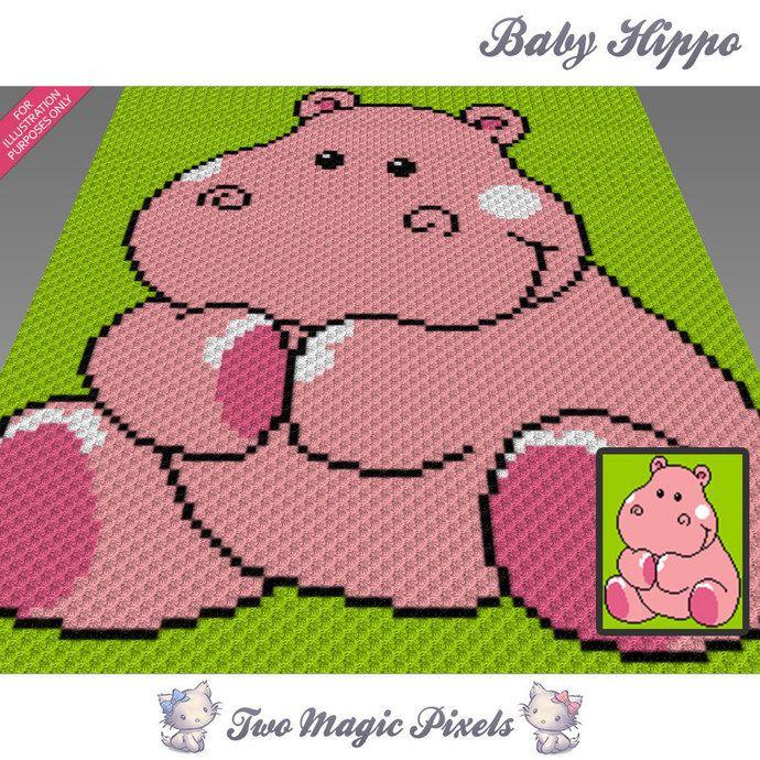 Baby Hippo crochet blanket pattern; knitting, cross stitch graph ...
