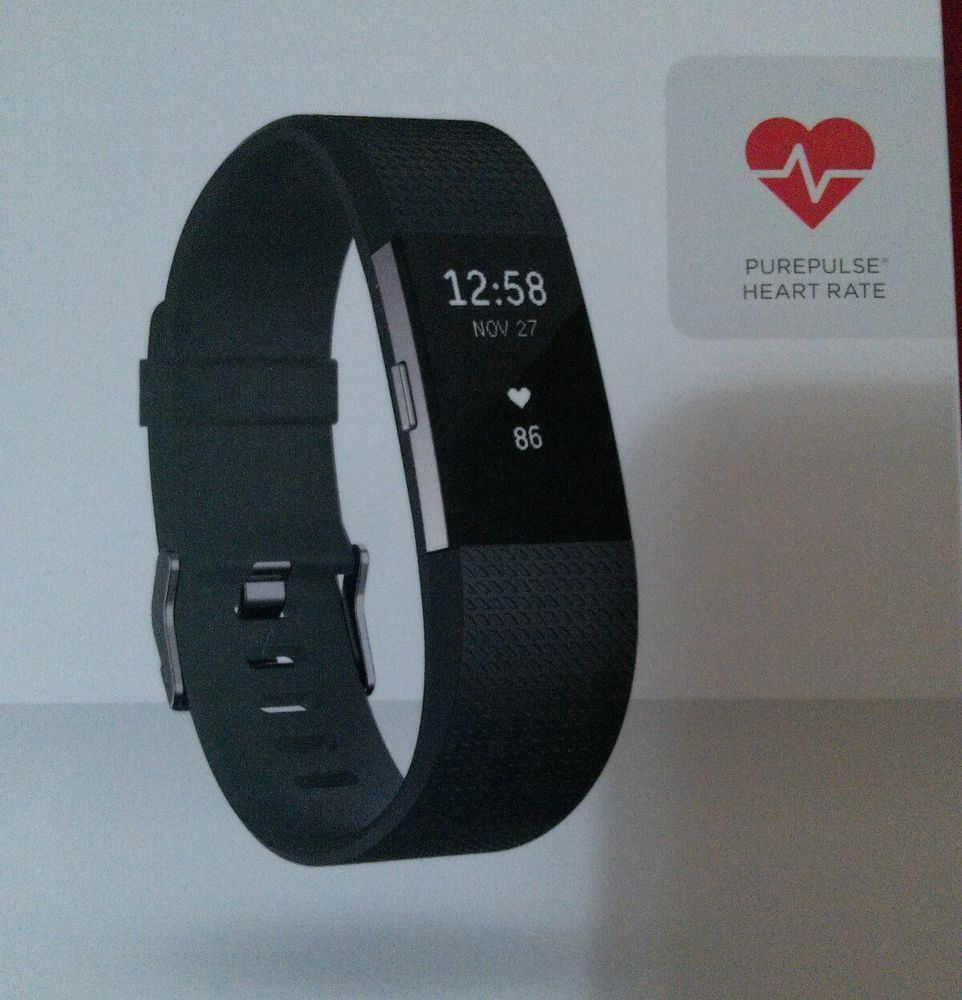 Fitbit charge 2 brand new blk lg w/charger & instructions