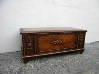 Vintage Art Deco Carved Cedar Chest By Lane 2739 photo