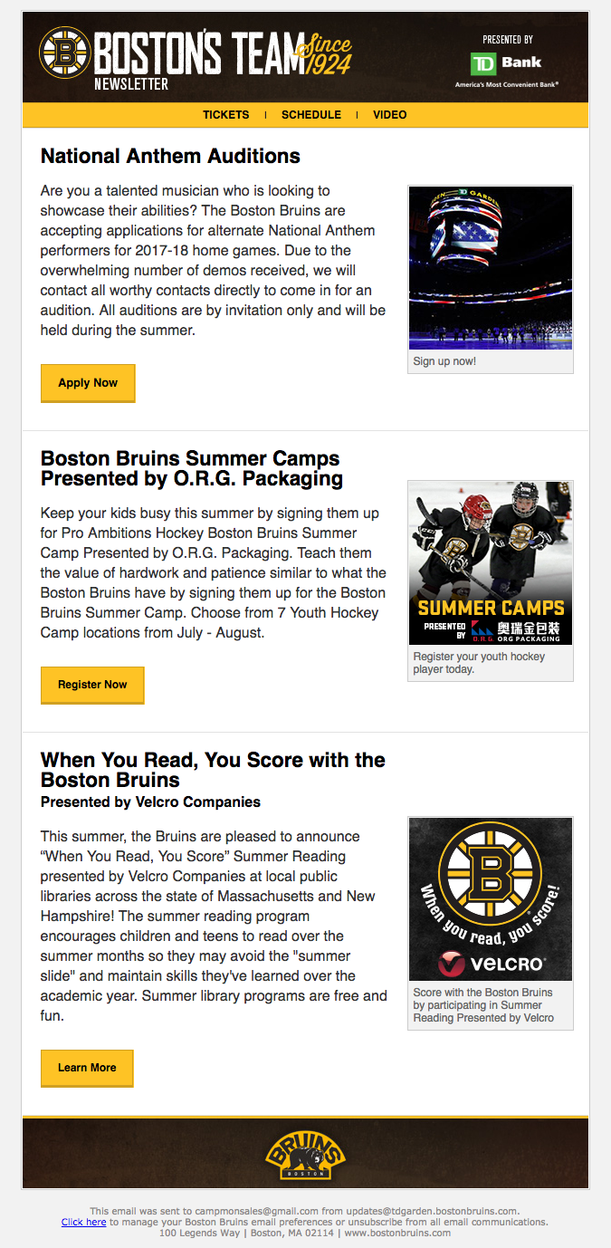 Newsletter From The Boston Bruins Email Marketing Blog Boston Bruins Newsletters